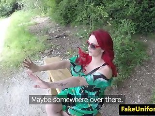 Euro redhead drilled by a cop outdoors