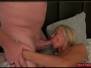 Brunette milf threesome and cumshot