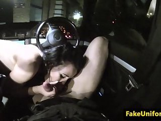 Cocksucking UK beauty pleasures cops cock