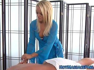 Cum soaked cute masseuse
