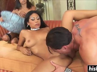 Gorgeous babes like to share a cock