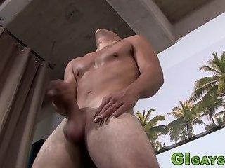 Soldier jerks fat dick