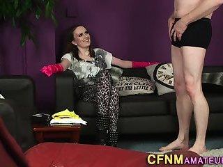 Kinky gloved cfnm amateur