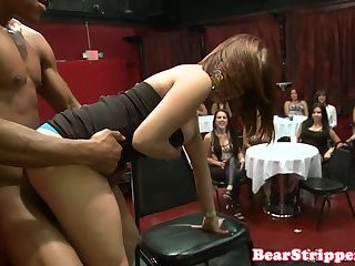 Redhead Milf blows stripper in front friends