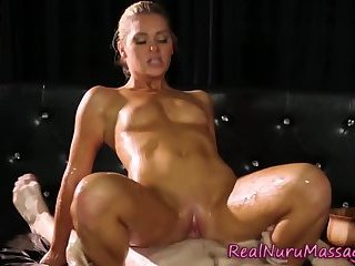 Nuru drenched masseuse