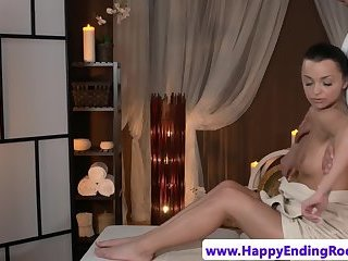 Massage loving teen doggystyled by masseur