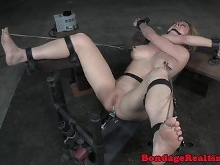 Gagged bigtits sub gets her ass drilled
