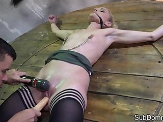 Teen sub toyed and restrained by maledom