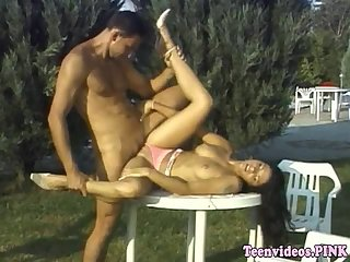 Teenage amateur pussy fucked on garden table