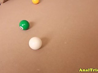 Amateur girlfriend assfucked on pool table