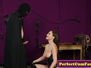 Submissive british babe facialized during bj