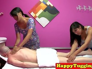 Oriental masseuses sharing clients cock