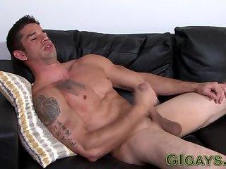 Gay amateur tugging cock