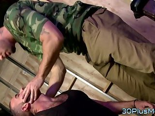 Gay soldier mouth jizzed
