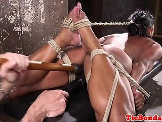Submissive latina squirts after dildoing