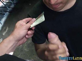 Dick sucking latino cums