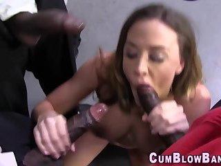 Busty blowbang babe sucks