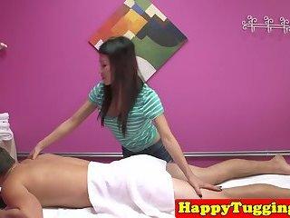 Japanese masseuse sucking dick at her salon