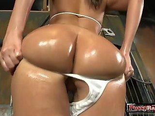 Brunette pornstar asslick and cumshot