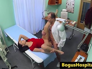 Real patient beauty doggystyled by doctor