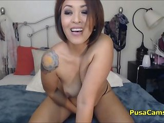 Naughty Tattooed Milf Cum While Masturbate With Dildo