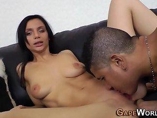 Ass railed slut takes cum