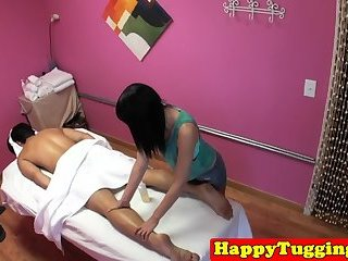 Hairy asian masseuse spoon fucked before hj