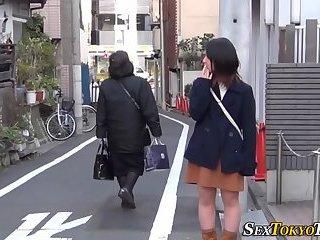 Asian cutie shows panties
