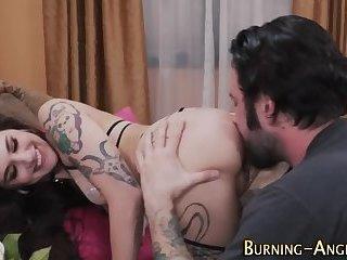 Tattooed rocker eaten out
