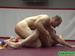 Wrestling jock pounding tight ass in closeup