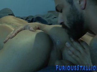 Ripped dudes ass fingered