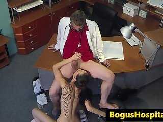 Cocksucking patient creamed by doctors cock