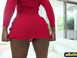 Camille strips from red dress to get fucked hard and deep