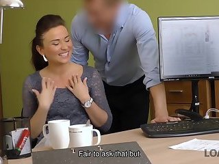 LOAN4K. Naughty agent can help sweet thing if she undresses for him