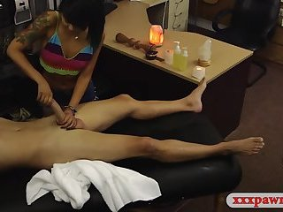 Oriental chick fucked hard by pawn dude at the pawnshop