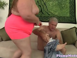 Overweight babe screwed in both holes