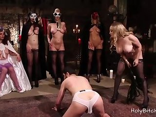 Five Horny Dominas Pegging a Guy