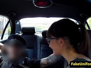 Brittish babe licks cunt juice from cops dick