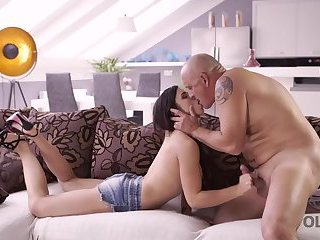 OLD4K. Playful brunette distracted mature dad to fuck her in butt