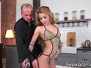 Gaping ass petite assfucked from behind