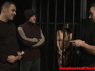 Restrained sub beauty punished by two doms
