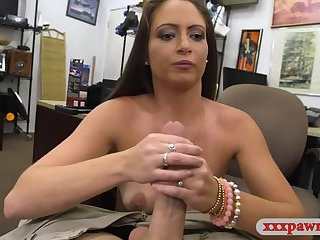 Hot amateur woman sucks off and railed at the pawnshop