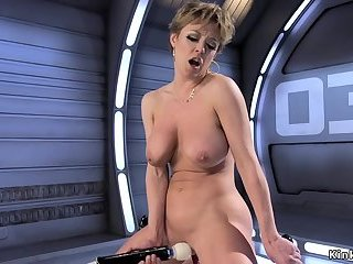 Big tits Milf gets machine in the ass