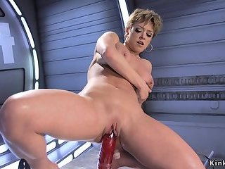 Huge tits Milf gets machine up her ass