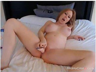 ADorable Pregnant Blonde Closeups and Dildo Fucking