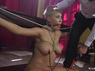 Married couple doggy fucking in bdsm