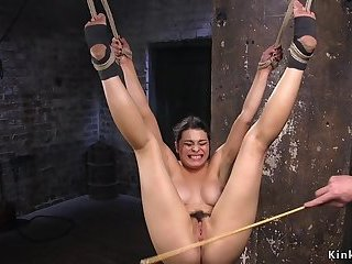 Busty hairy babe caned in hogtie suspension