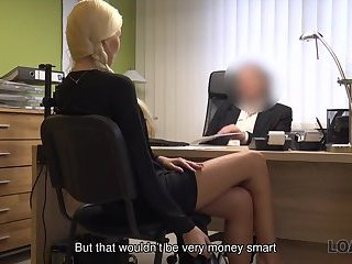 LOAN4K. Blonde angel pays with sex for flexible credit conditions