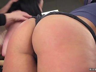 Huge tits mistress anal dominates lesbians