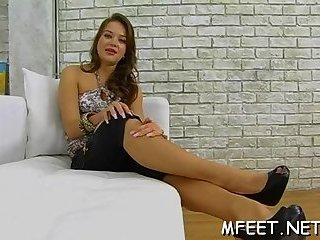 Footjob ends up with fresh jizz